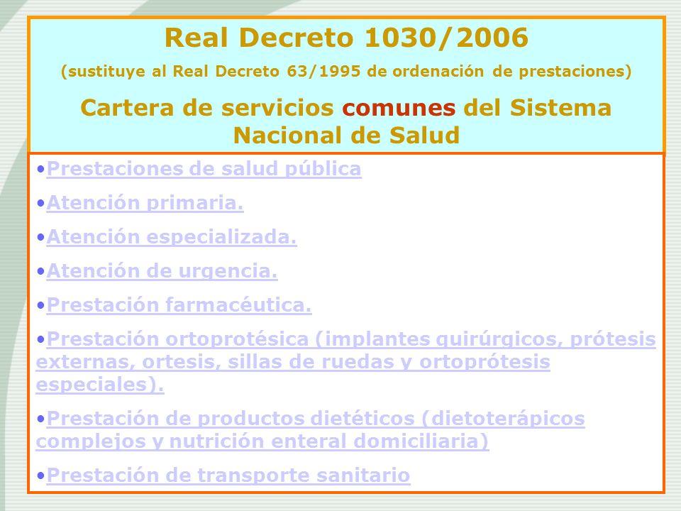 Real Decreto 1030/2006 (sustituye al Real Decreto 63/1995 de ordenación de prestaciones) Cartera de servicios comunes del Sistema Nacional de Salud Pr