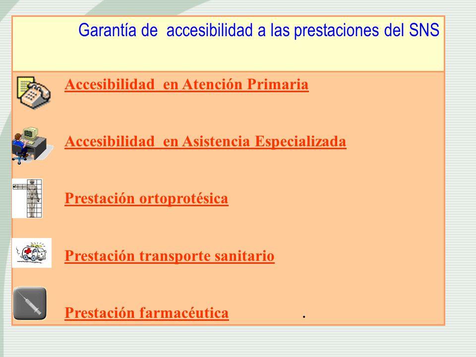 Garantía de accesibilidad a las prestaciones del SNS Accesibilidad en Atención Primaria Accesibilidad en Asistencia Especializada Prestación ortoproté