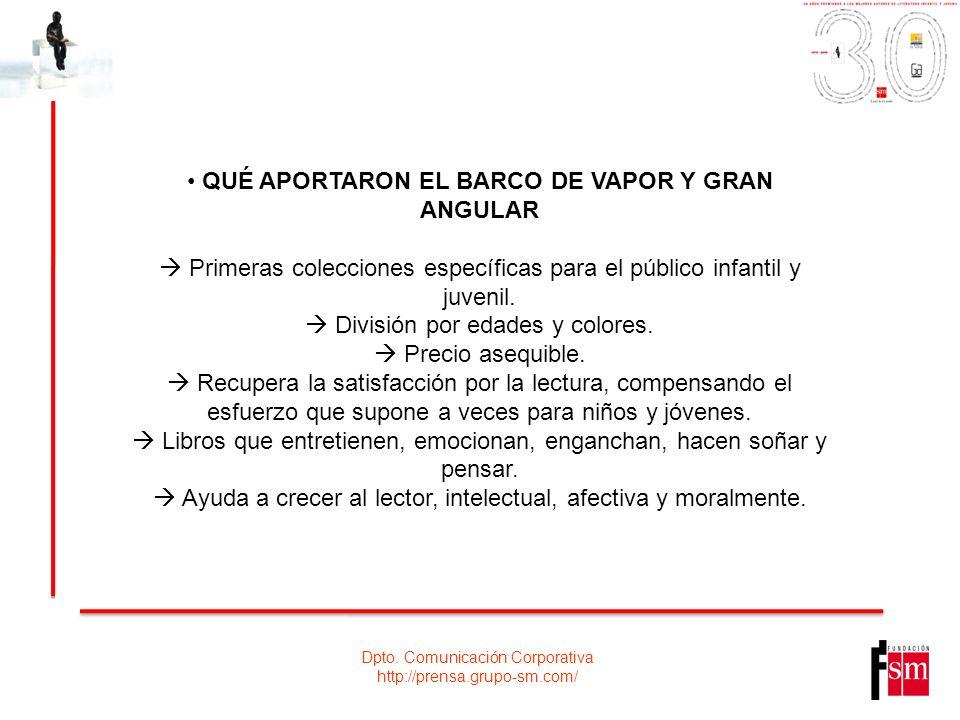Dpto. Comunicación Corporativa http://prensa.grupo-sm.com/ QUÉ APORTARON EL BARCO DE VAPOR Y GRAN ANGULAR Primeras colecciones específicas para el púb