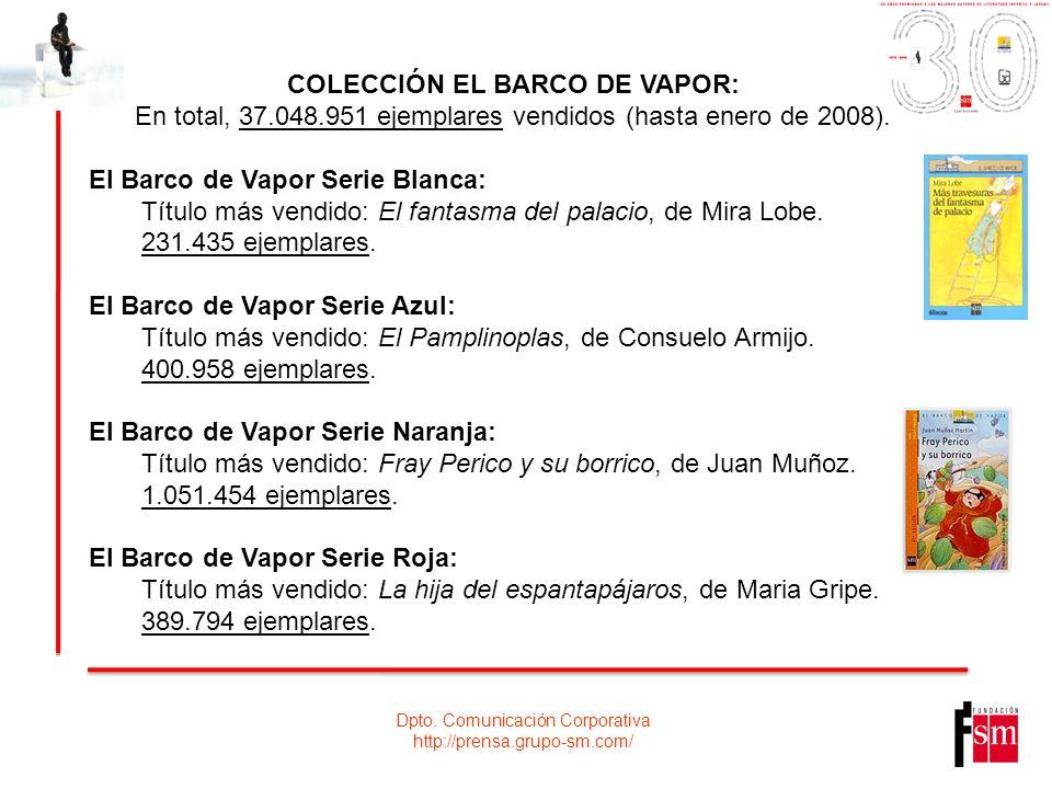 Dpto. Comunicación Corporativa http://prensa.grupo-sm.com/ COLECCIÓN EL BARCO DE VAPOR: En total, 37.048.951 ejemplares vendidos (hasta enero de 2008)