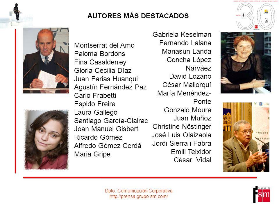 Dpto. Comunicación Corporativa http://prensa.grupo-sm.com/ Montserrat del Amo Paloma Bordons Fina Casalderrey Gloria Cecilia Díaz Juan Farias Huanqui