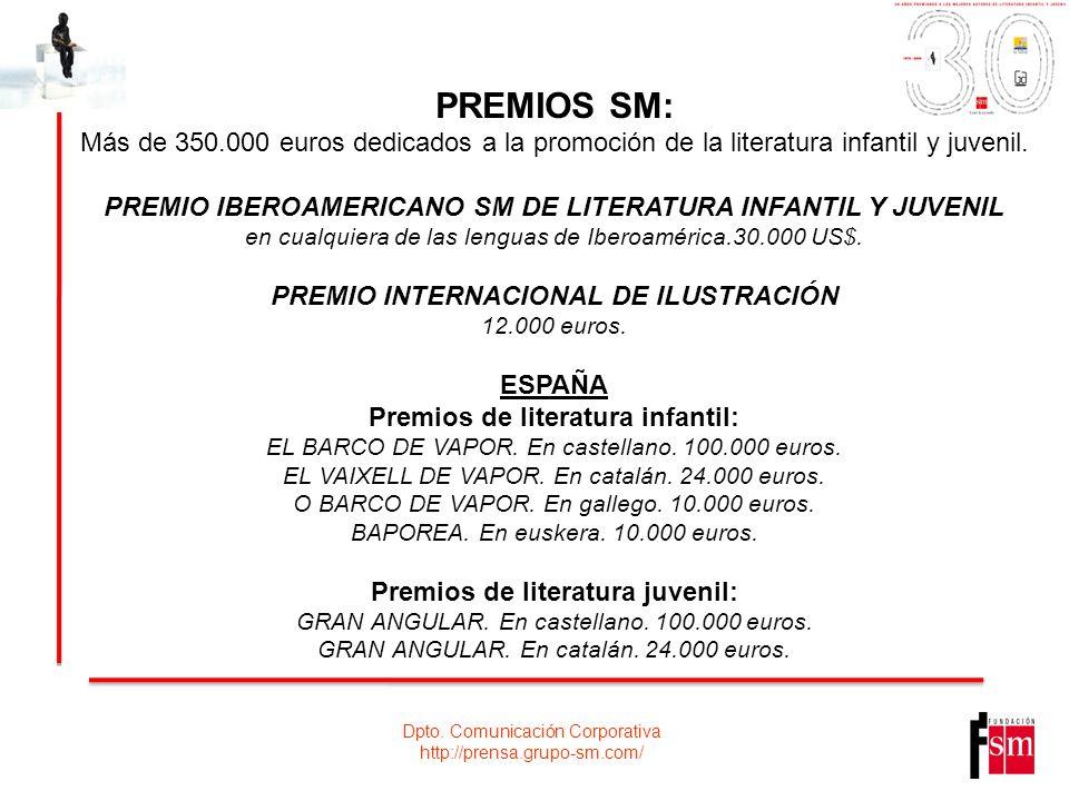 Dpto. Comunicación Corporativa http://prensa.grupo-sm.com/ PREMIOS SM: Más de 350.000 euros dedicados a la promoción de la literatura infantil y juven