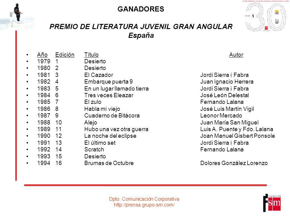 Dpto. Comunicación Corporativa http://prensa.grupo-sm.com/ GANADORES PREMIO DE LITERATURA JUVENIL GRAN ANGULAR España AñoEdiciónTítuloAutor 19791Desie