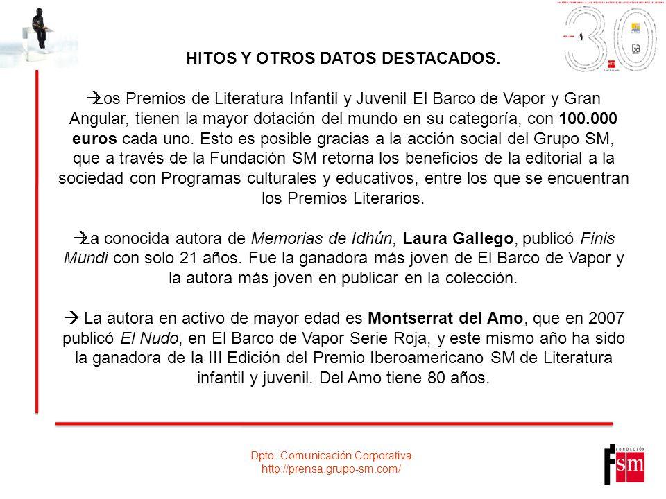 Dpto. Comunicación Corporativa http://prensa.grupo-sm.com/ HITOS Y OTROS DATOS DESTACADOS. Los Premios de Literatura Infantil y Juvenil El Barco de Va