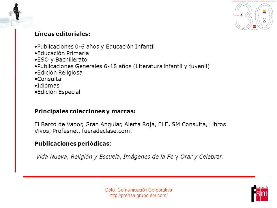 Dpto. Comunicación Corporativa http://prensa.grupo-sm.com/ Líneas editoriales: Publicaciones 0-6 años y Educación Infantil Educación Primaria ESO y Ba