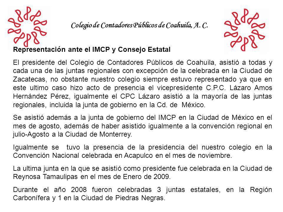 Colegio de Contadores Públicos de Coahuila, A. C. Representación ante el IMCP y Consejo Estatal El presidente del Colegio de Contadores Públicos de Co