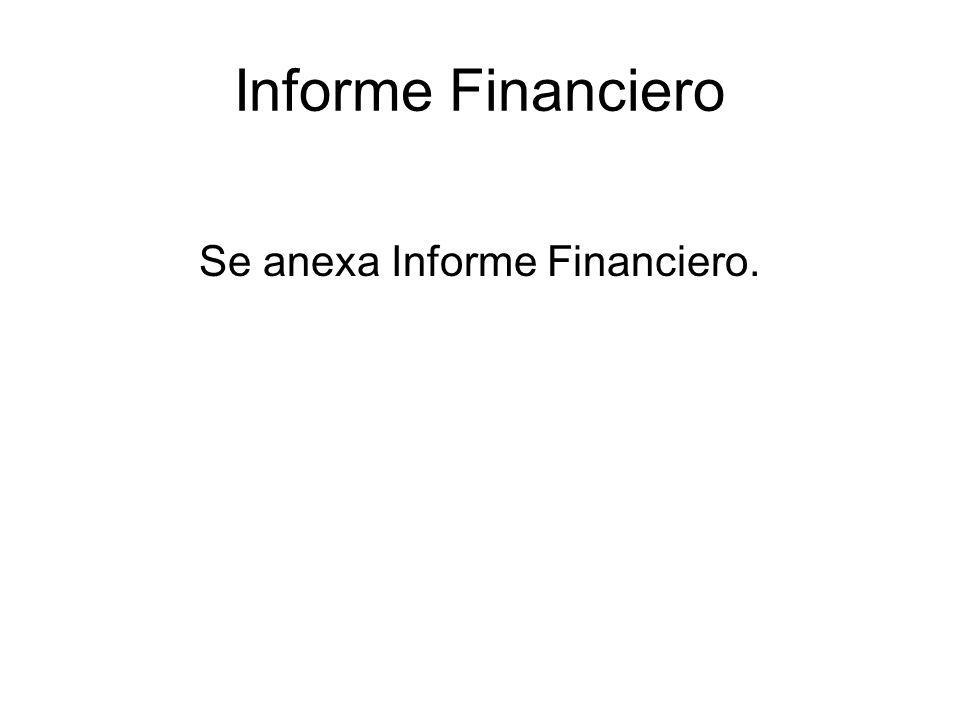 Informe Financiero Se anexa Informe Financiero.