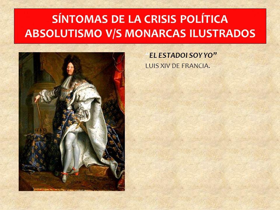 SÍNTOMAS DE LA CRISIS POLÍTICA ABSOLUTISMO V/S MONARCAS ILUSTRADOS EL ESTADOI SOY YO LUIS XIV DE FRANCIA.