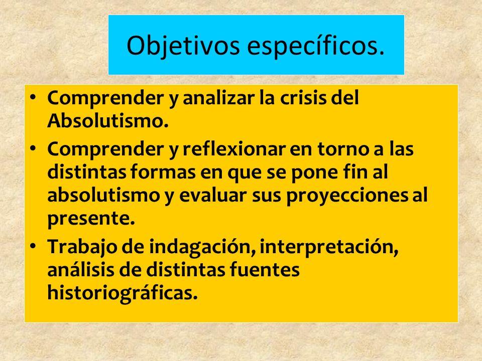 Objetivos específicos.Comprender y analizar la crisis del Absolutismo.