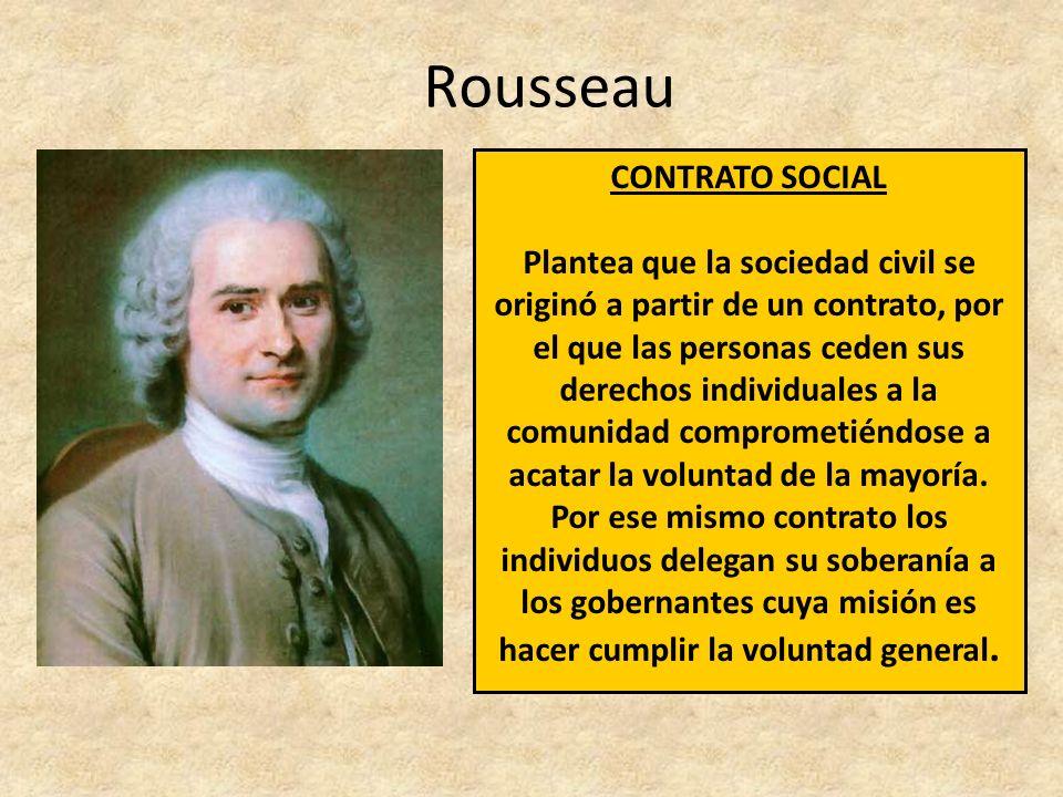 CONTRATO SOCIAL Plantea que la sociedad civil se originó a partir de un contrato, por el que las personas ceden sus derechos individuales a la comunidad comprometiéndose a acatar la voluntad de la mayoría.