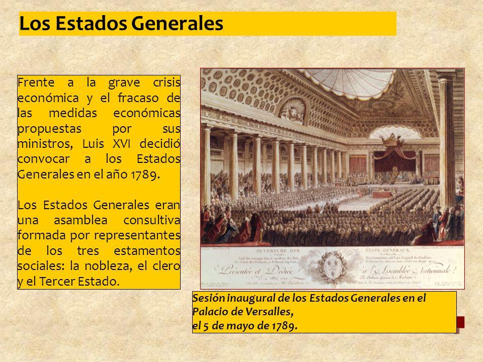 Frente a la grave crisis económica y el fracaso de las medidas económicas propuestas por sus ministros, Luis XVI decidió convocar a los Estados Generales en el año 1789.