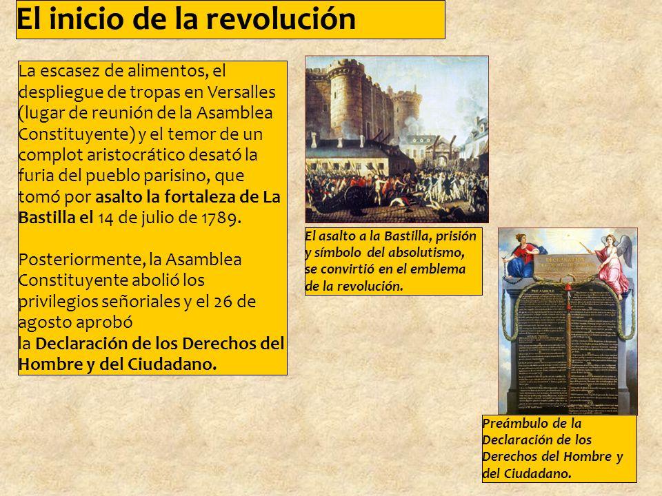 La escasez de alimentos, el despliegue de tropas en Versalles (lugar de reunión de la Asamblea Constituyente) y el temor de un complot aristocrático desató la furia del pueblo parisino, que tomó por asalto la fortaleza de La Bastilla el 14 de julio de 1789.