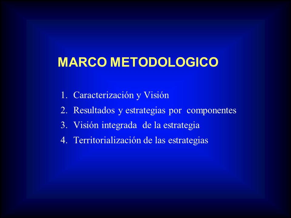 MARCO METODOLOGICO 1.Caracterización y Visión 2.Resultados y estrategias por componentes 3.Visión integrada de la estrategia 4.Territorialización de l
