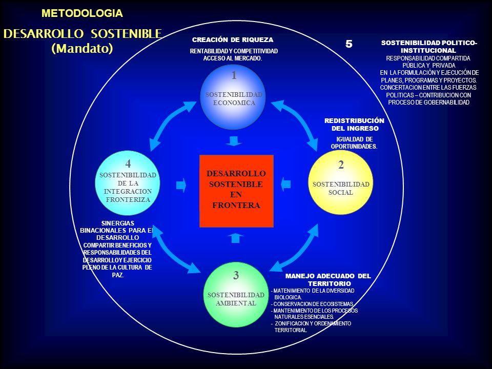 METODOLOGIA DESARROLLO SOSTENIBLE (Mandato) DESARROLLO SOSTENIBLE EN FRONTERA 1 SOSTENIBILIDAD ECONOMICA CREACIÓN DE RIQUEZA RENTABILIDAD Y COMPETITIVIDAD ACCESO AL MERCADO.
