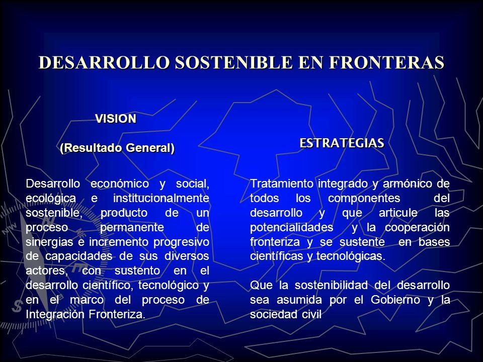 VISION (Resultado General) DESARROLLO SOSTENIBLE EN FRONTERAS Tratamiento integrado y armónico de todos los componentes del desarrollo y que articule las potencialidades y la cooperación fronteriza y se sustente en bases científicas y tecnológicas.