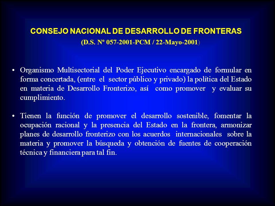 CONSEJO NACIONAL DE DESARROLLO DE FRONTERAS (D.S. Nº 057-2001-PCM / 22-Mayo-2001) Organismo Multisectorial del Poder Ejecutivo encargado de formular e