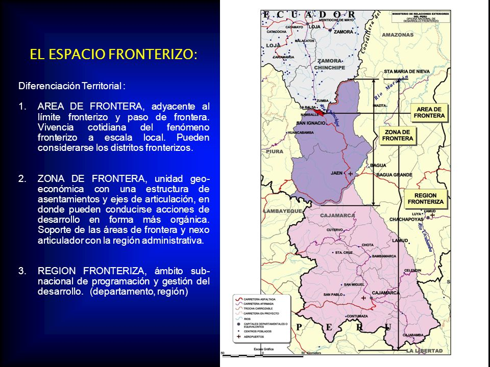 EL ESPACIO FRONTERIZO: Diferenciación Territorial : 1.AREA DE FRONTERA, adyacente al límite fronterizo y paso de frontera.