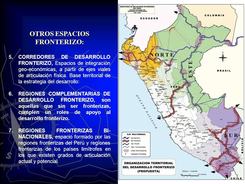 OTROS ESPACIOS FRONTERIZO: 5.CORREDORES DE DESARROLLO FRONTERIZO, Espacios de integración geo-económicas, a partir de ejes viales de articulación físi