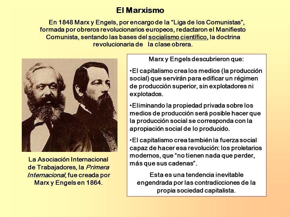 En 1848 Marx y Engels, por encargo de la Liga de los Comunistas, formada por obreros revolucionarios europeos, redactaron el Manifiesto Comunista, sentando las bases del socialismo científico, la doctrina revolucionaria de la clase obrera.