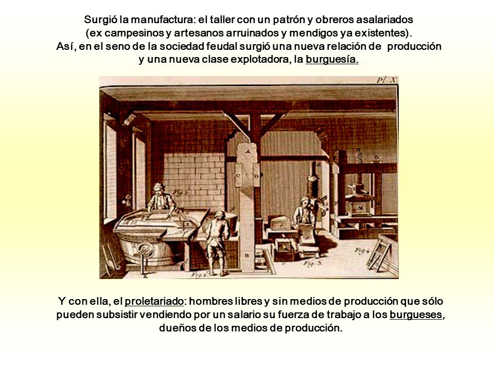 Surgió la manufactura: el taller con un patrón y obreros asalariados (ex campesinos y artesanos arruinados y mendigos ya existentes).