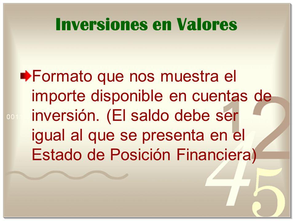 Inversiones en Valores Formato que nos muestra el importe disponible en cuentas de inversión.