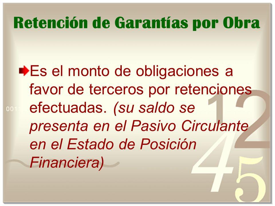 Retención de Garantías por Obra Es el monto de obligaciones a favor de terceros por retenciones efectuadas.