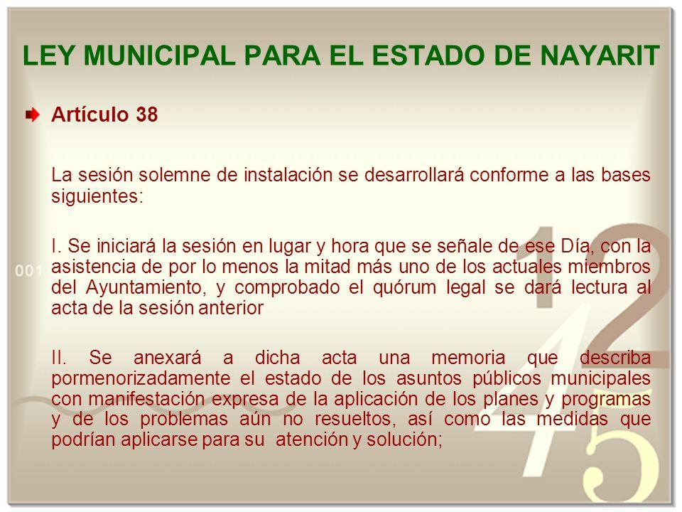 ley municipal para el estado de nayarit: