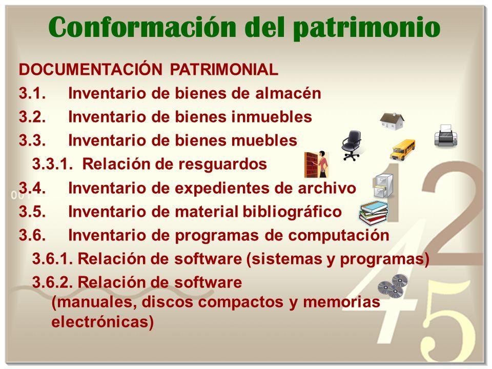 DOCUMENTACIÓN PATRIMONIAL 3.1.Inventario de bienes de almacén 3.2.
