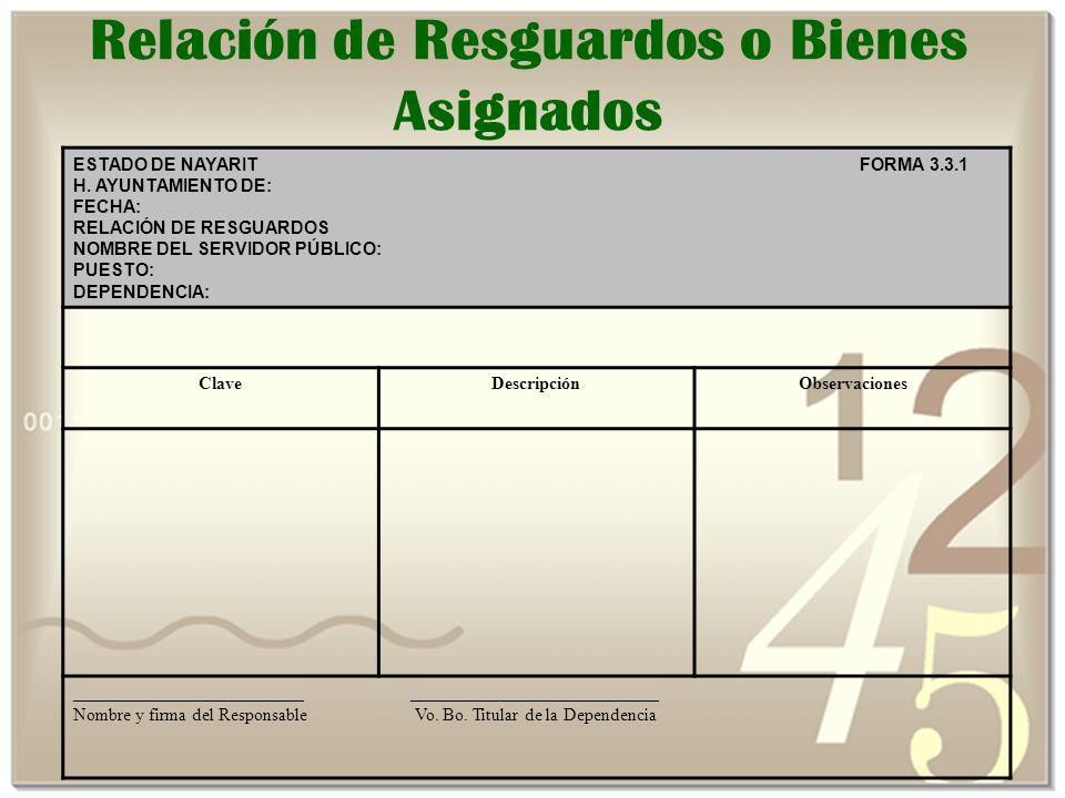 Relación de Resguardos o Bienes Asignados ESTADO DE NAYARIT FORMA 3.3.1 H.