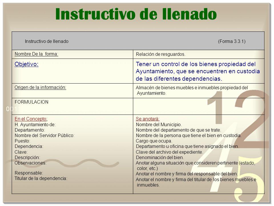 Instructivo de llenado Instructivo de llenado (Forma 3.3.1) Nombre De la forma:Relación de resguardos.