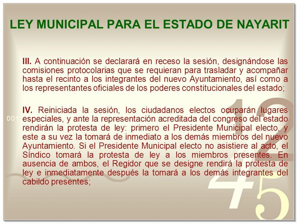 LEY MUNICIPAL PARA EL ESTADO DE NAYARIT III.