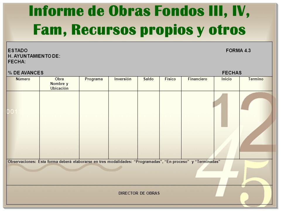 Informe de Obras Fondos III, IV, Fam, Recursos propios y otros ESTADO FORMA 4.3 H.