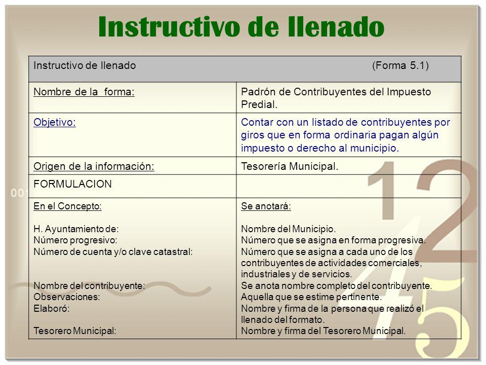 Instructivo de llenado Instructivo de llenado (Forma 5.1) Nombre de la forma:Padrón de Contribuyentes del Impuesto Predial.