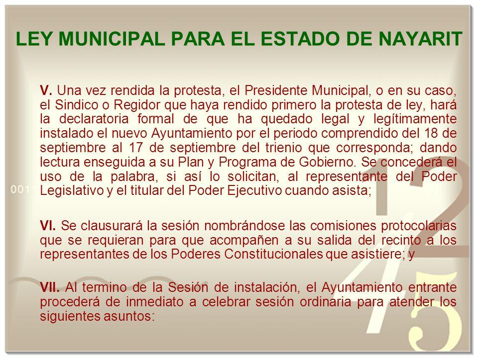 LEY MUNICIPAL PARA EL ESTADO DE NAYARIT V.