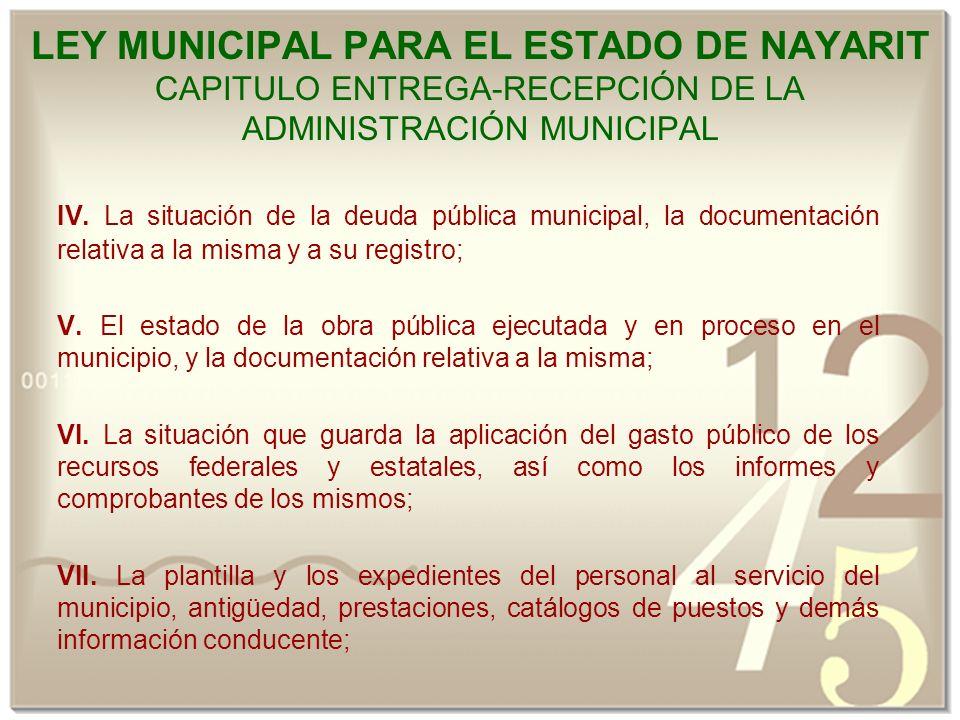 LEY MUNICIPAL PARA EL ESTADO DE NAYARIT CAPITULO ENTREGA-RECEPCIÓN DE LA ADMINISTRACIÓN MUNICIPAL IV.