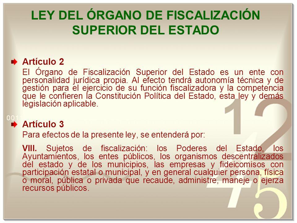 LEY DEL ÓRGANO DE FISCALIZACIÓN SUPERIOR DEL ESTADO Artículo 2 El Órgano de Fiscalización Superior del Estado es un ente con personalidad jurídica propia.
