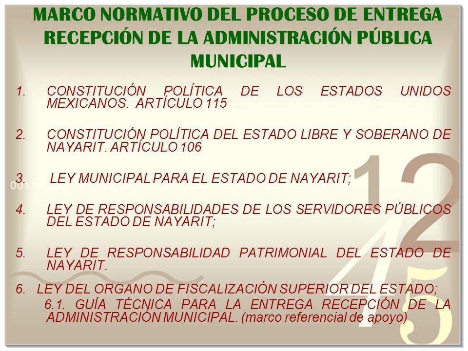 MARCO NORMATIVO DEL PROCESO DE ENTREGA RECEPCIÓN DE LA ADMINISTRACIÓN PÚBLICA MUNICIPAL 1.CONSTITUCIÓN POLÍTICA DE LOS ESTADOS UNIDOS MEXICANOS.