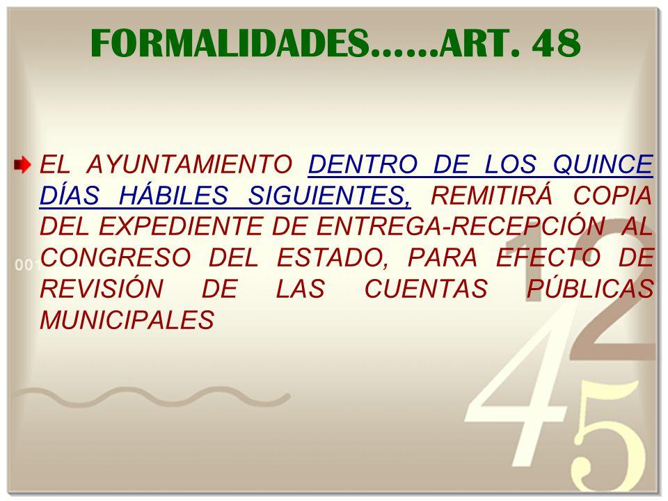 FORMALIDADES……ART.
