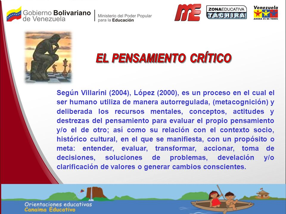 Según Villaríni (2004), López (2000), es un proceso en el cual el ser humano utiliza de manera autorregulada, (metacognición) y deliberada los recurso