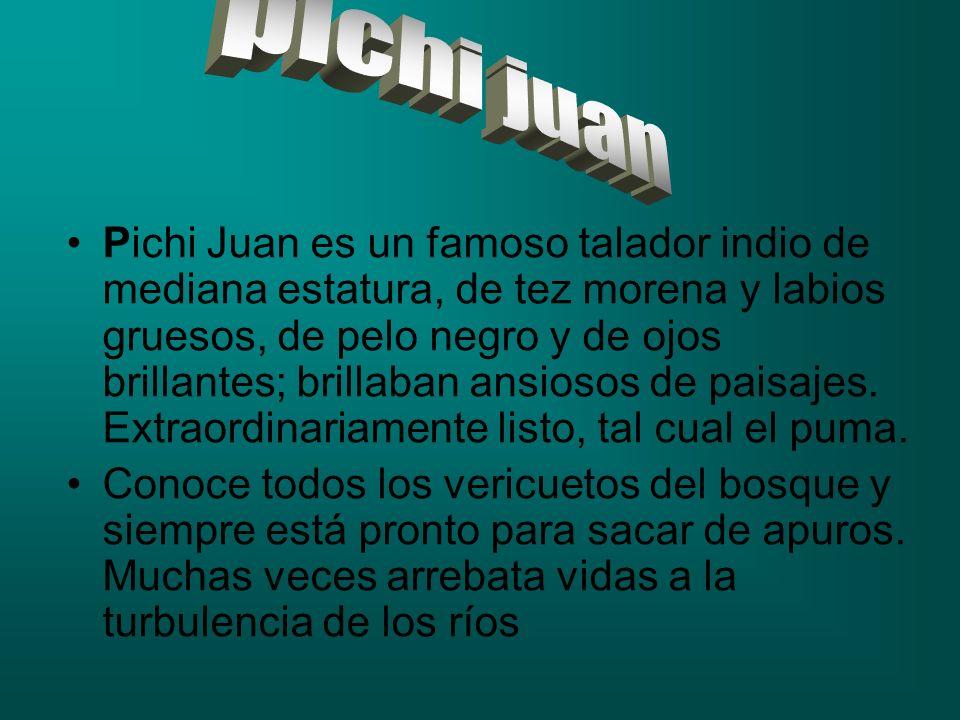 Pichi Juan es un famoso talador indio de mediana estatura, de tez morena y labios gruesos, de pelo negro y de ojos brillantes; brillaban ansiosos de p