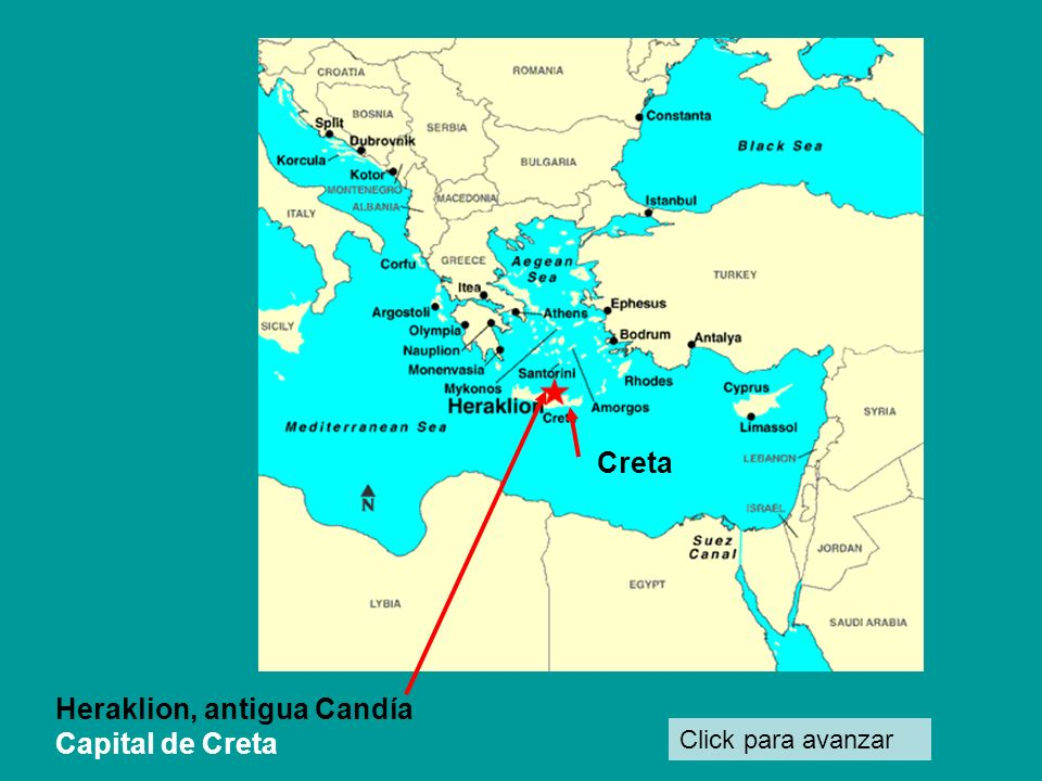 Click para avanzar Heraklion, antigua Candía Capital de Creta Creta