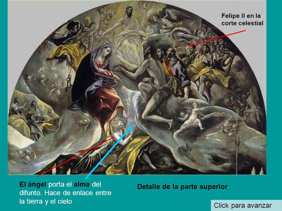 Click para avanzar Detalle de la parte superior Felipe II en la corte celestial El ángel porta el alma del difunto.