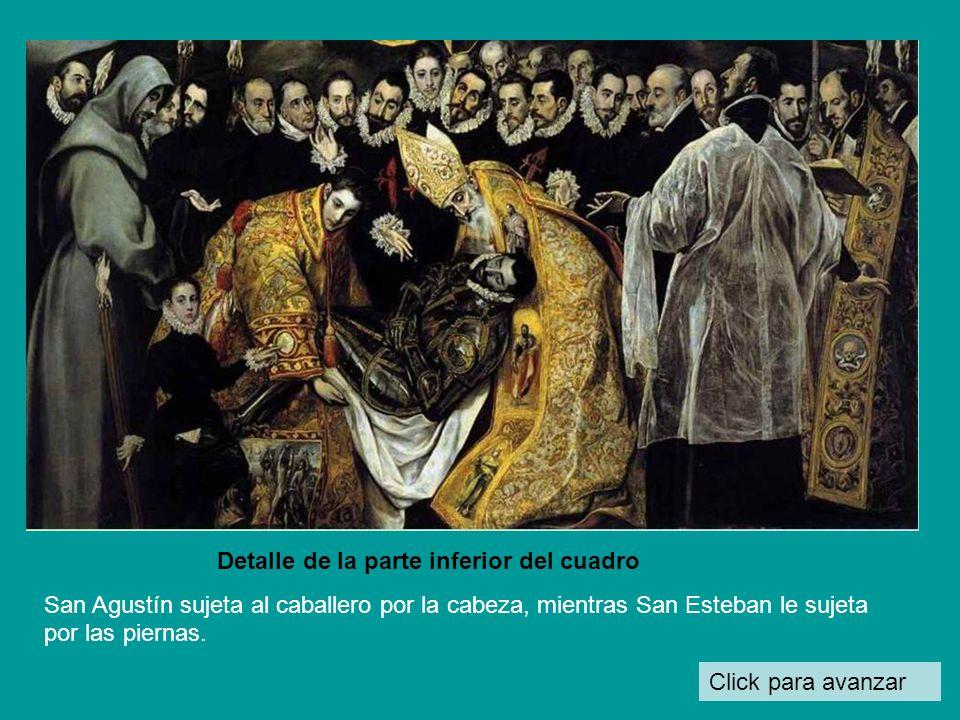 Click para avanzar Detalle de la parte inferior del cuadro San Agustín sujeta al caballero por la cabeza, mientras San Esteban le sujeta por las piernas.