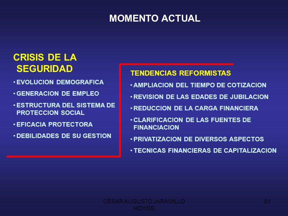 CESAR AUGUSTO JARAMILLO HOYOS 60 POLITICAS DE SEGURIDAD SOCIAL SOLIDARIDAD SOCIAL COBERTURA GENERAL DE LOS RIESGOS TODA LA POBLACION FINANCIACION: RENTA NACIONAL SERVICIO PUBLICO DE FINALIDAD SOCIAL 1.942: MODELO DIFERENTE: PLAN BEVERIDGE CARACTERISTICAS: FINANCIADO: IMPUESTOS Y BIPARTITA COTIZACIONES UNIFORMES PRESTACIONES ECONOMICAS SIMILARES SEGURIDAD SOCIAL VOLUNTARIA OBLIGATORIA COMO NIVEL DE SUSBSISTENCIA UNIVERSALIZACION DE LA COBERTURA HOMOGENEIDAD DE RIESGOS ADMINISTRACION Y GESTION UNIFICADA