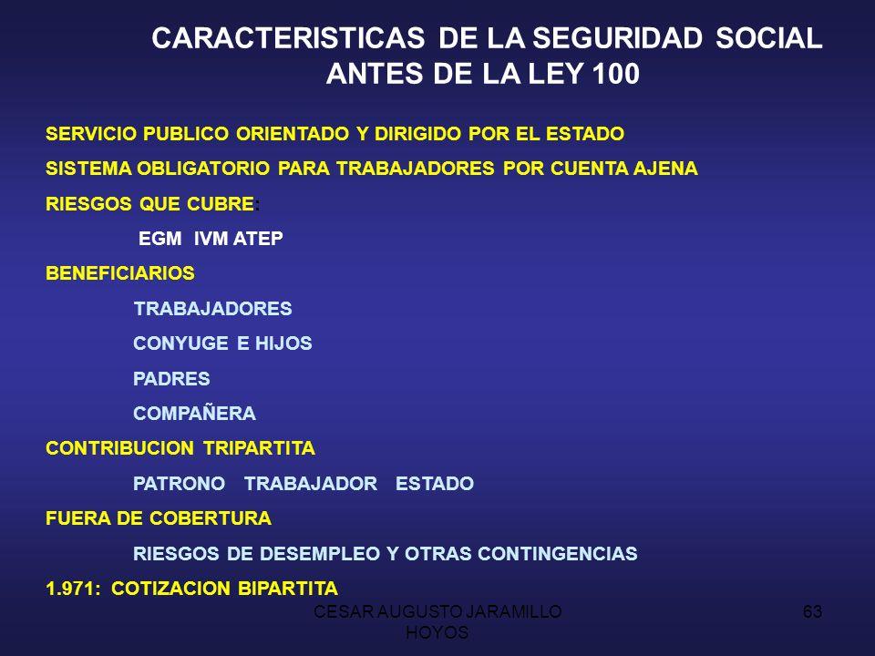 CESAR AUGUSTO JARAMILLO HOYOS 62 LA SEGURIDAD SOCIAL EN COLOMBIA EVOLUCION HISTORICA Y DESARROLLO 1.781: MONTEPIOS MILITARES PROTECCION A VIUDAS E HIJOS DE LOS MILITARES 1.843: REESTABLECIMIENTO COMO FONDOS MUTUALES 1.890: SE TRANSFORMAN EN CAJA DE AHORRO 1.925: CREACION DE LA CAJA DE SUELDOS DE RETIRO FFMM 1.905: REGIMEN DE PENSION PARA LOS MAGISTRADOS CORTE 1.912: PENSIONES PARA LAS VIUDAS DE LOS PRESIDENTES E HIJAS SOLTERAS 1.922: Ley 40.