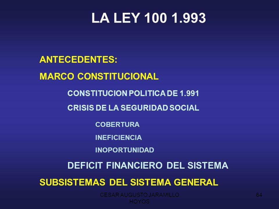 CESAR AUGUSTO JARAMILLO HOYOS 63 CARACTERISTICAS DE LA SEGURIDAD SOCIAL ANTES DE LA LEY 100 SERVICIO PUBLICO ORIENTADO Y DIRIGIDO POR EL ESTADO SISTEMA OBLIGATORIO PARA TRABAJADORES POR CUENTA AJENA RIESGOS QUE CUBRE: EGM IVM ATEP BENEFICIARIOS TRABAJADORES CONYUGE E HIJOS PADRES COMPAÑERA CONTRIBUCION TRIPARTITA PATRONO TRABAJADOR ESTADO FUERA DE COBERTURA RIESGOS DE DESEMPLEO Y OTRAS CONTINGENCIAS 1.971: COTIZACION BIPARTITA