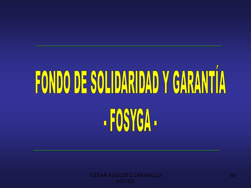 CESAR AUGUSTO JARAMILLO HOYOS 64 LA LEY 100 1.993 ANTECEDENTES: MARCO CONSTITUCIONAL CONSTITUCION POLITICA DE 1.991 CRISIS DE LA SEGURIDAD SOCIAL COBERTURA INEFICIENCIA INOPORTUNIDAD DEFICIT FINANCIERO DEL SISTEMA SUBSISTEMAS DEL SISTEMA GENERAL
