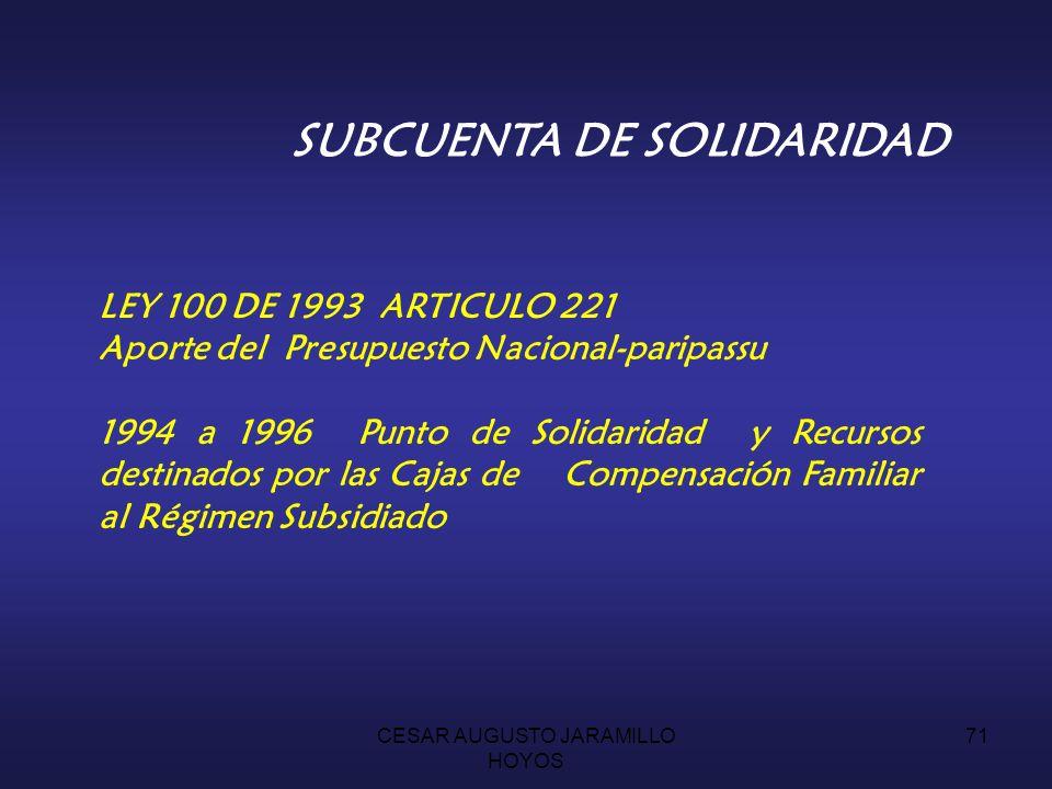 CESAR AUGUSTO JARAMILLO HOYOS 70 UN PUNTO DE COTIZACION REGIMEN CONTRIBUTIVO APORTES CAJAS DE COMPENSACION FAMILIAR APORTE GOBIERNO NACIONAL PARIPASSU IMPUESTO A LAS ARMAS RENDIMIENTOS FINANCIEROS EXCEDENTES FINANCIEROS SUBSIDIO A LA DEMANDA : PAGO DEFICIT REGIMEN SUBSIDIADO CAJAS DE COMPENSACION FAMILIAR EVENTOS DE TRAUMA MAYOR POR VIOLENCIA APOYO TECNICO, AUDITORIA Y COMISION FIDUCIARIA INGRESOSGASTOS SUBCUENTA DE SOLIDARIDAD