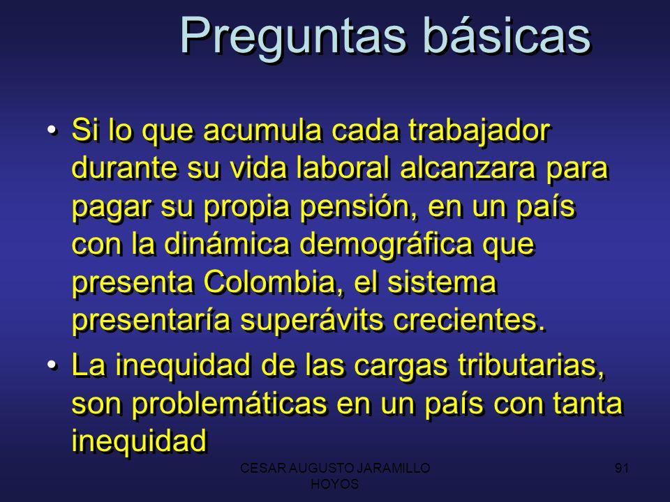 CESAR AUGUSTO JARAMILLO HOYOS 90 Preguntas básicas En el régimen de prima media, existen transferencias intergeneracionales, ya que las cotizaciones de los trabajadores actuales financian los pagos de pensiones de los jubilados.
