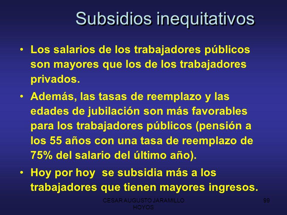 CESAR AUGUSTO JARAMILLO HOYOS 98 Subsidios inequitativos